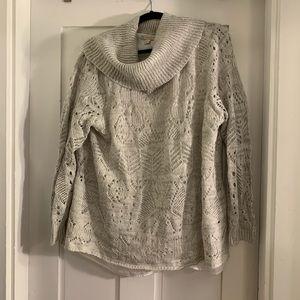 3x silver Dressbarn cowl neck twofer sweater